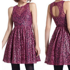 Tracey Reese Frock Plum Lace Keyhole Dress, Size 0